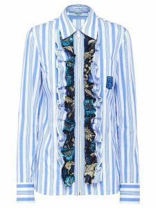 Prada ruffled striped shirt - Blue