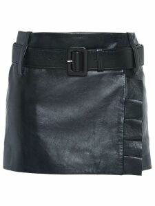 Prada Leather miniskirt with belt and ruffles - Black