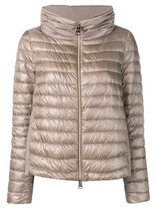 Herno contrast panels padded jacket - NEUTRALS