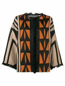 Alberta Ferretti geometric pattern cardigan - Neutrals