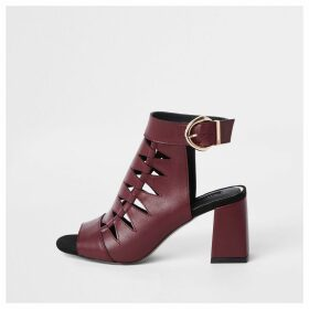 River Island Womens Burgundy cut out shoe boots