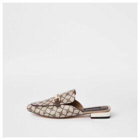 River Island Womens Brown RI monogram backless loafer