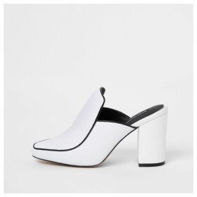 River Island Womens White leather closed toe mules