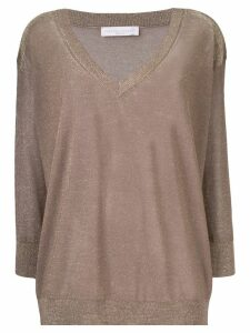 Fabiana Filippi metallic V-neck sweater - Brown