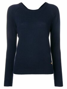 Tory Burch back ribbon tied jumper - Blue