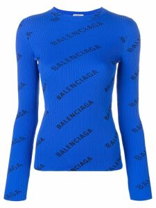 Balenciaga ribbed logo print sweater - Blue