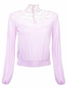 Giambattista Valli floral lace detail knitted jumper - PURPLE