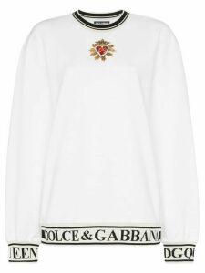 Dolce & Gabbana Sacred heart logo band cotton sweatshirt - White