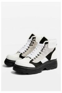 Womens Karla White Chunky Lace Up Trainers - White, White