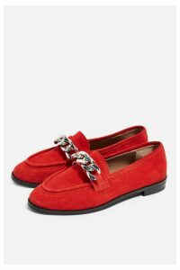 Womens **Wide Fit Koppa Chain Loafers - Red, Red