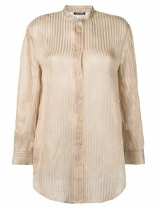 Giorgio Armani Pre-Owned 1980's semi-sheer striped shirt - NEUTRALS