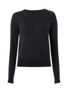 Womens Vero Moda Blue 'Milda' O-Neck Button T-Shirt, Blue