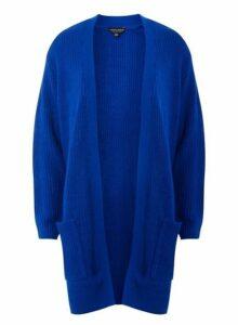 Womens Cobalt Longline Cardigan- Blue, Blue