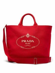Prada - Logo Cotton Canvas Tote - Womens - Red