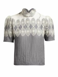 Thierry Colson - Sabrina Lace Trimmed Cotton Blend Blouse - Womens - Grey White