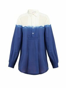 Kilometre Paris - Dip-dyed Cotton Shirt - Womens - Blue
