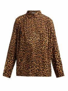 Mes Demoiselles - Feline Leopard-print Cotton Blouse - Womens - Leopard