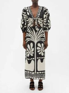 D'ascoli - Calypso Cotton Midi Dress - Womens - Red Print