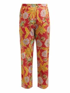 Rhode - Rohan Floral-print Cotton Trousers - Womens - Red Multi