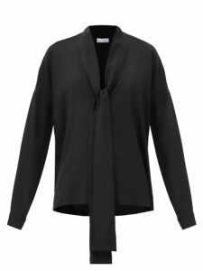 Racil - Agata Pussy-bow Silk Blouse - Womens - Navy Multi