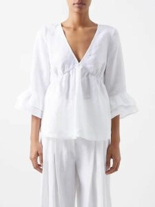 Giambattista Valli - Ruffled Lace-insert Silk Blouse - Womens - Ivory