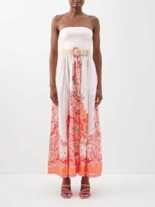 Prada - Ruffle-trimmed Silk Blouse - Womens - Blue Multi