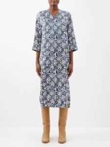 Stella Mccartney - Ditzy-print Silk Pyjama Shirt - Womens - Navy Multi