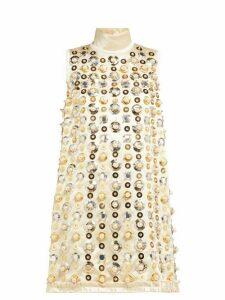 Miu Miu - Pearl And Sequin-embellished Satin Mini Dress - Womens - Beige Multi