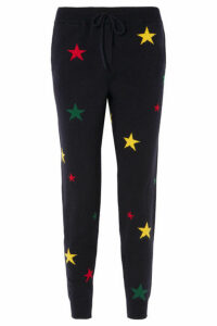 Chinti and Parker - Star Intarsia Cashmere Track Pants - Navy