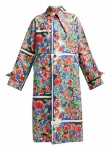Charles Jeffrey Loverboy - Rose-scribble-print Linen Coat - Womens - Red Multi