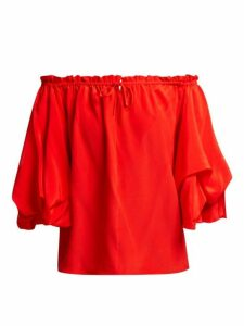 Diane Von Furstenberg - Georganne Off-the-shoulder Silk Top - Womens - Red
