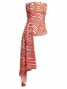 Halpern - Striped Asymmetric Draped Bustier Top - Womens - Red White