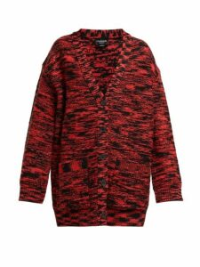 Calvin Klein - Oversized Space-dye Wool Cardigan - Womens - Black Red