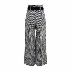 Zalinah White - Regular Arlene Wide Leg High Waisted Cotton Trousers In Black & White Gingham