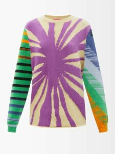 The Elder Statesman - Reg Forest-intarsia Cashmere Sweater - Womens - Black Multi