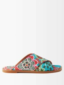 Bottega Veneta - Mouline Roll-neck Mélange Wool Sweater - Womens - Blue Multi