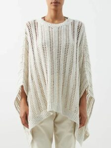 Joostricot - Breton Striped Roll Neck Sweater - Womens - Navy White