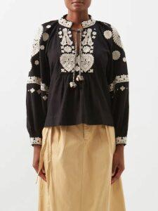 Proenza Schouler - Belted Tiered Cotton Midi Dress - Womens - Black