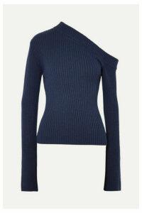 Solace London - Varese One-shoulder Asymmetric Ribbed Cotton-blend Top - Navy