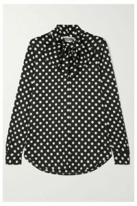 Moschino - Pussy-bow Polka-dot Charmeuse Blouse - Black