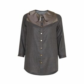 Manley - Mia Silk Shirt With Metallic Leather Collar Gunmetal
