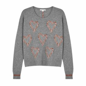 Duffy Grey Heart-intarsia Cashmere Jumper