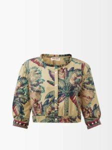 Miu Miu - Star Print Ruffled Silk Midi Dress - Womens - Black Multi