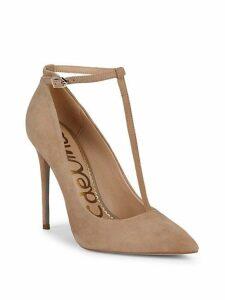 Dorinda Ankle-Strap Suede Stiletto Pumps