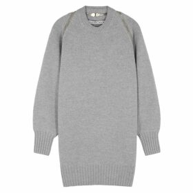 Alexander Wang Grey Zipped Merino Wool Jumper