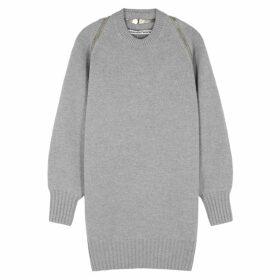 Alexander Wang Grey Zipped Merino Wool Jumper