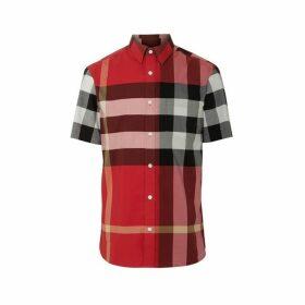 Burberry Short-sleeve Check Stretch Cotton Shirt