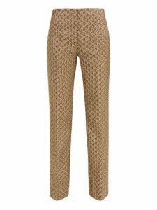 Prada - High-rise Geometric-brocade Trousers - Womens - Silver Multi