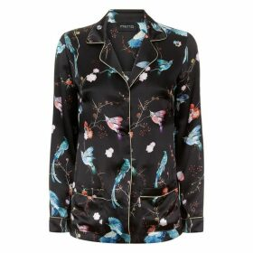 MENG Black Floral Silk Satin Shirt