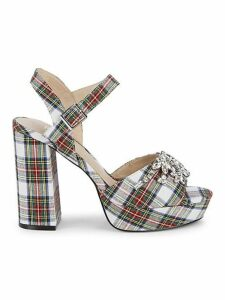 Embellished Plaid Sandals